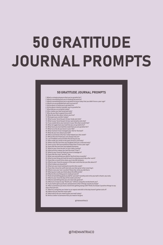 20 GRATITUDE JOURNAL PROMPTS – THE MANTRA CO.   Gratitude journal ...