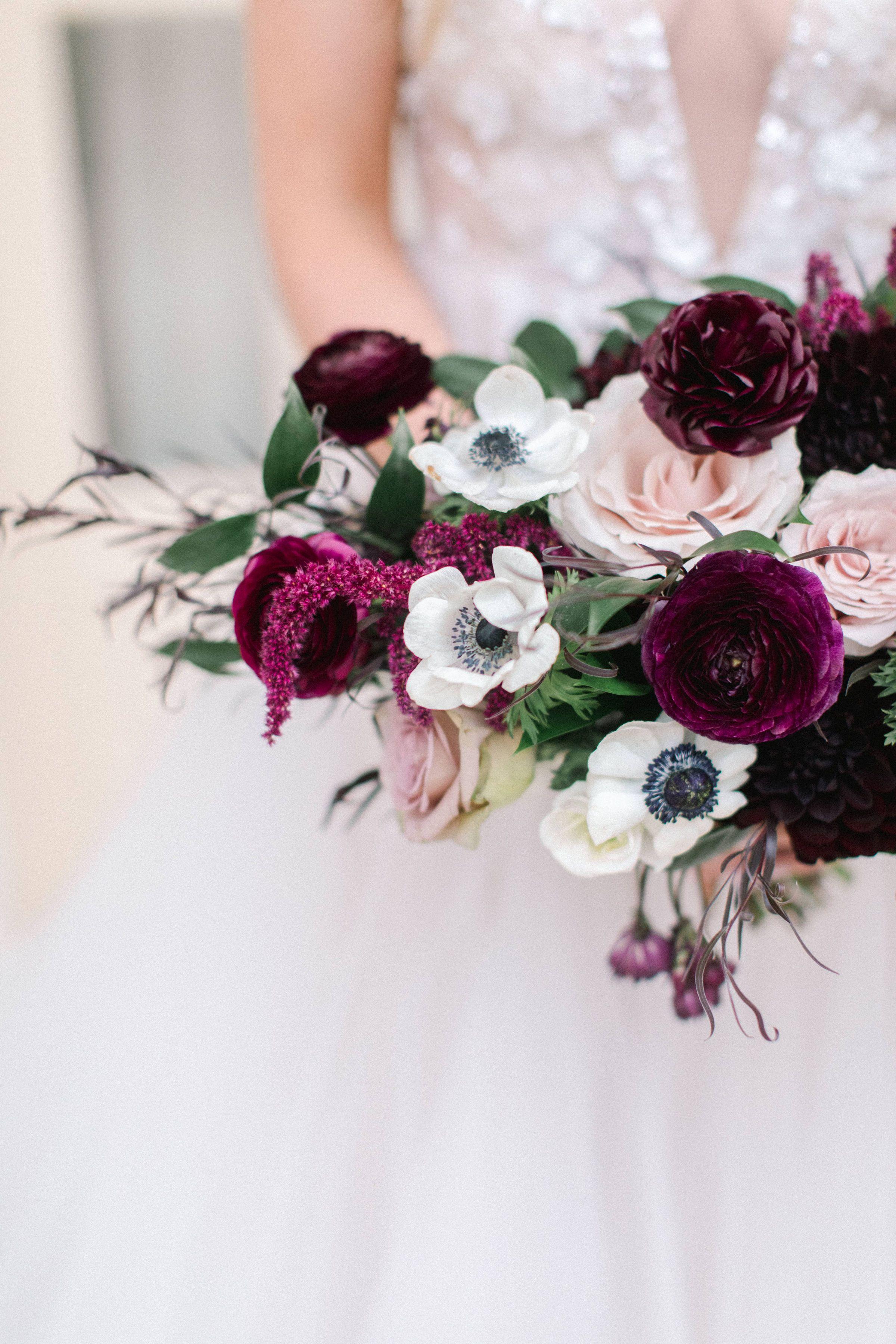 Bridal Bouquet With Plum Ranunculus And Panda Anemones Plum Wedding Flowers Bridal Flowers Wedding Flowers