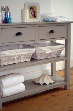 French Gray Bathroom Console Console Table With Drawers By