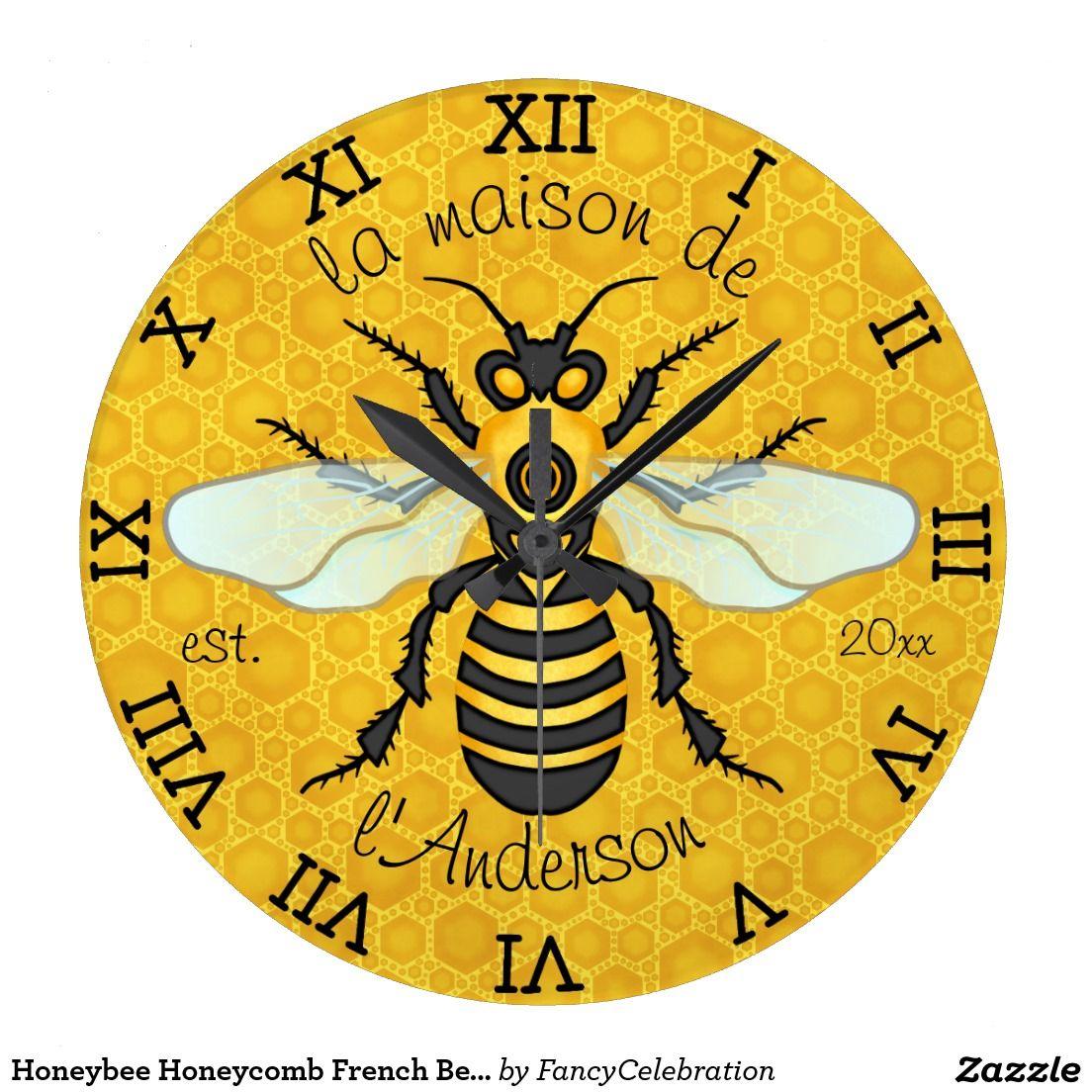 Honeybee Honeycomb French Bee Family Name Elegant Large Clock   Bee ...