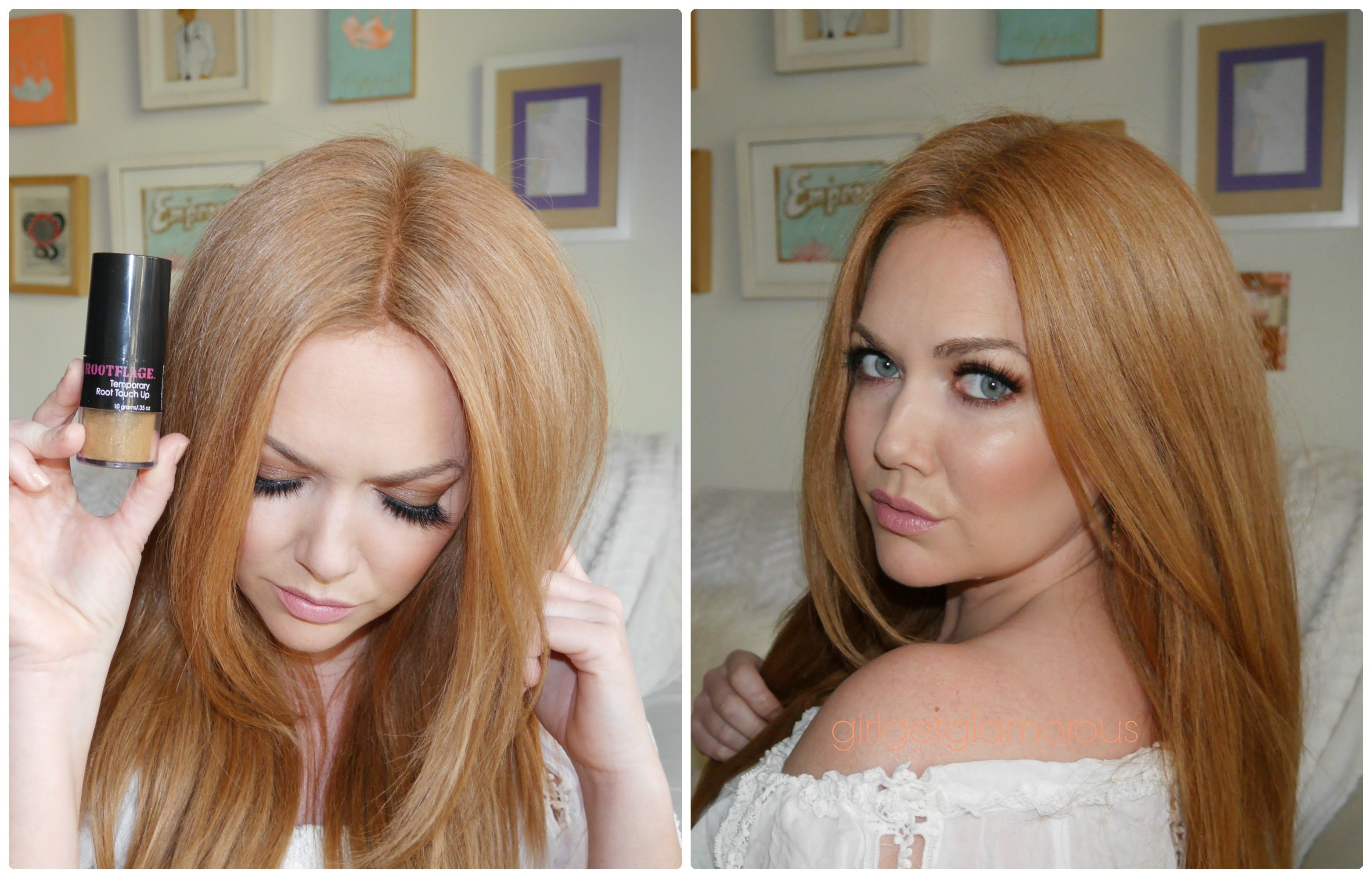 Rootflage Touch Up Powder Review Demo Strawberry Blonde With