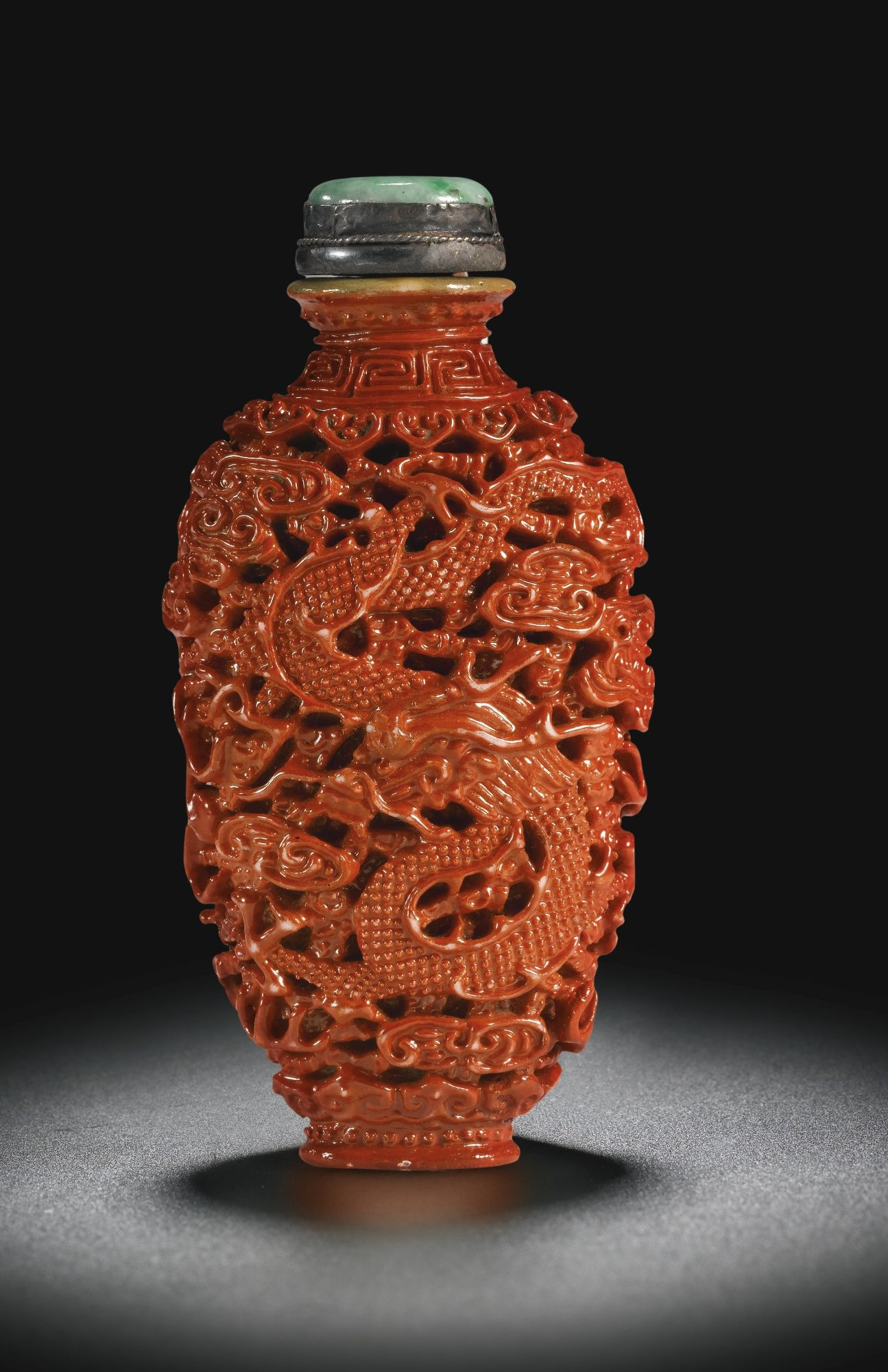 A Coral Imitation Porcelain Snuff Bottlejiaqing Seal Mark And Period Lot Snuff Bottle Bottle Bottle Art