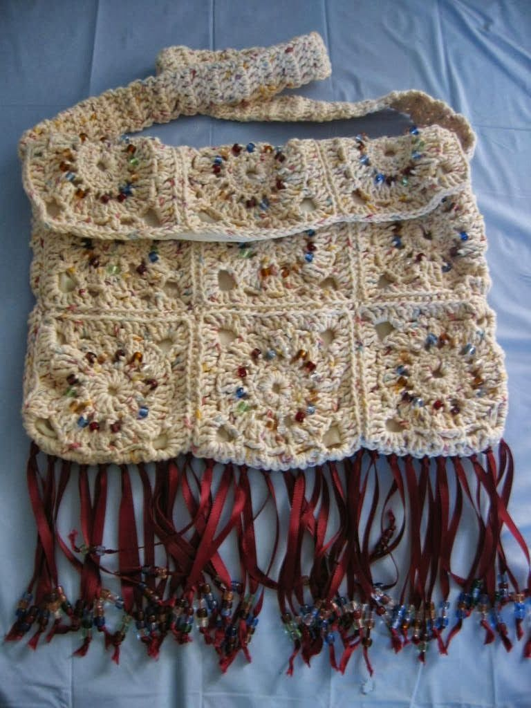 Donna's Crochet Designs Blog of Free Patterns: Free Crochet Pattern Granny Square Hippy Purse with Ribbon Fringe