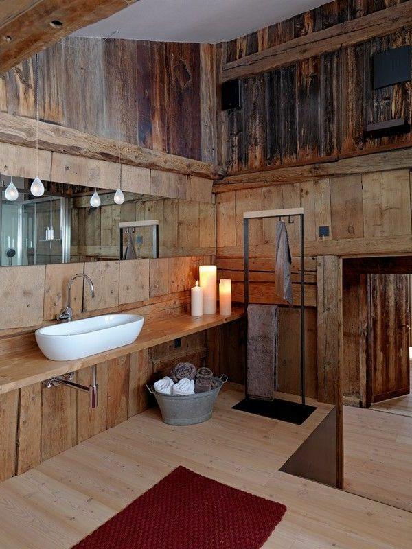 rustikale badezimmer holz waschbecken kerzen - Badezimmer Holzwand Bilder