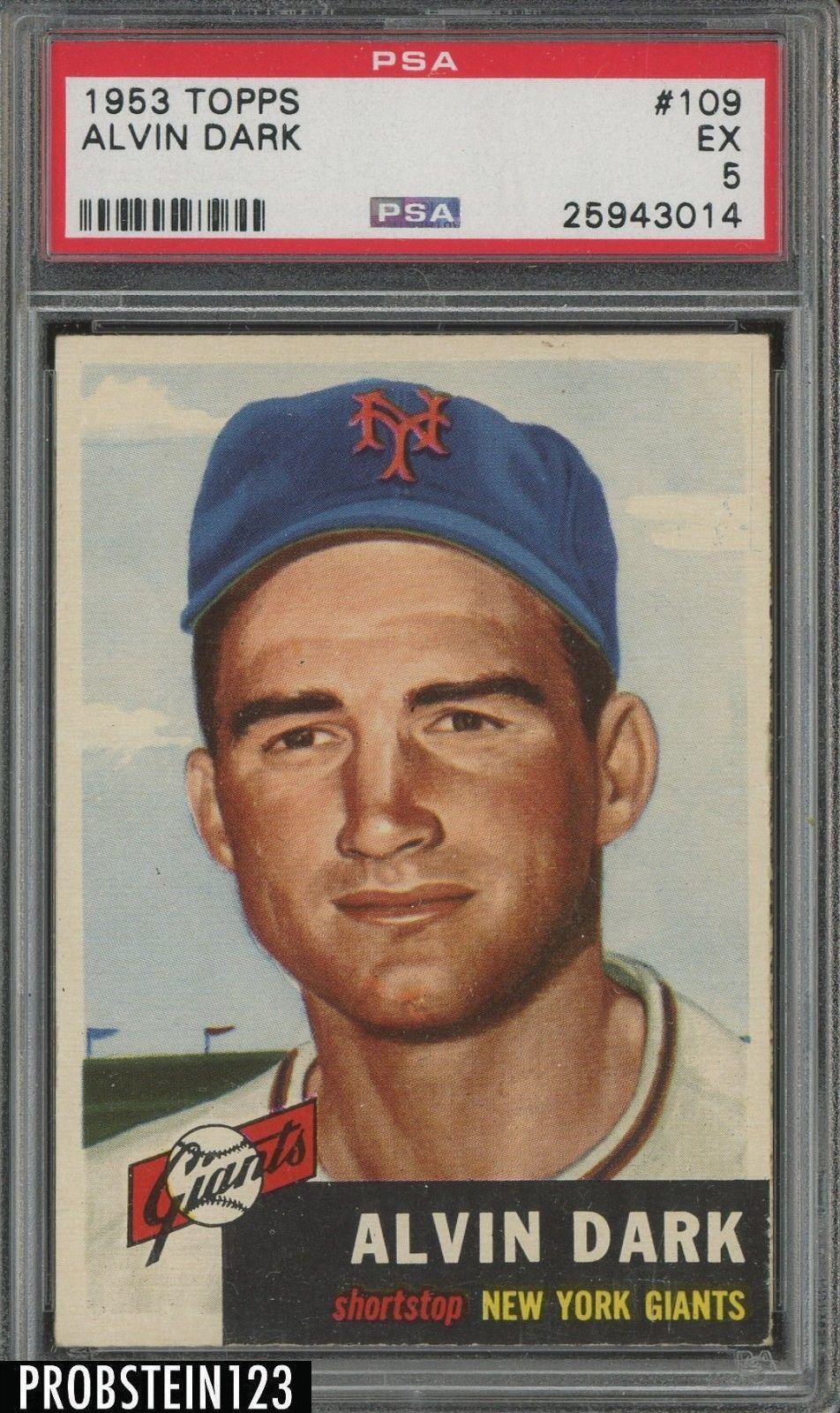 1953 Topps 109 Alvin Dark New York Giants PSA 5 EX