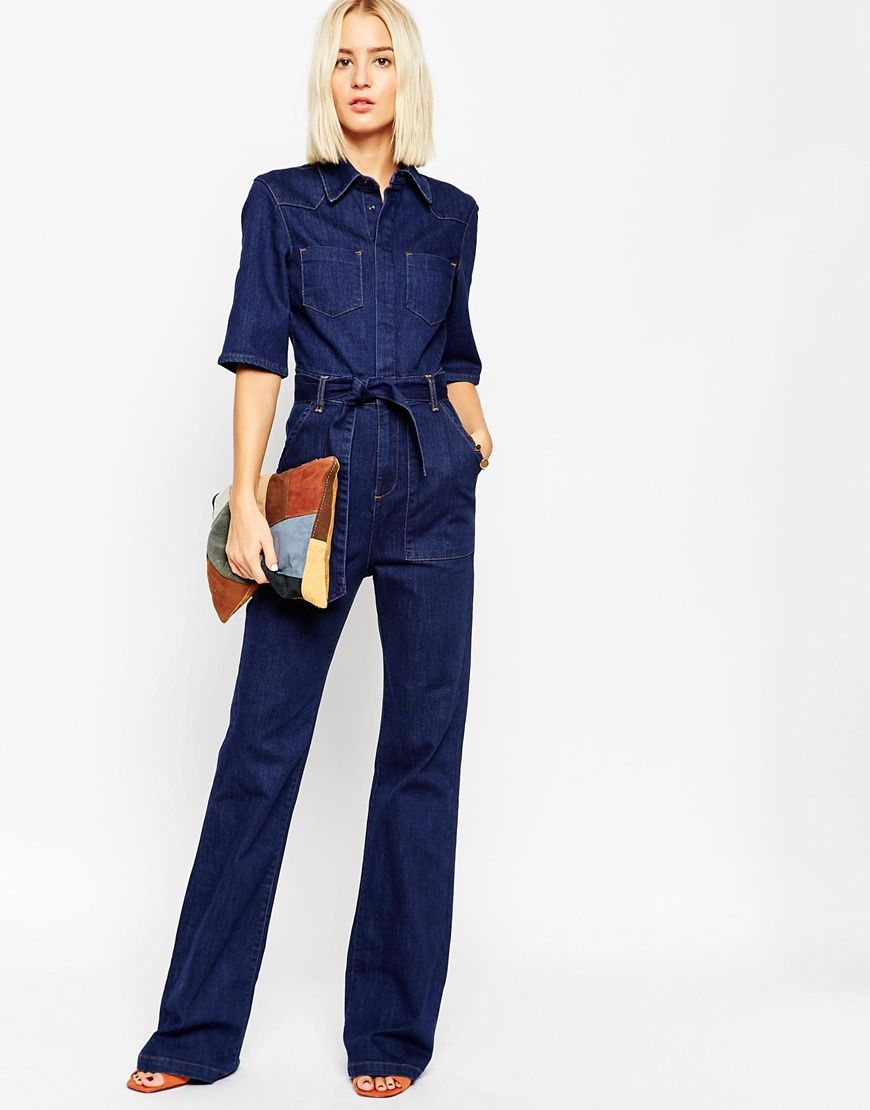 045ca1e47bbd Image 4 of ASOS Denim Patch Pocket Flared Jumpsuit With Belt