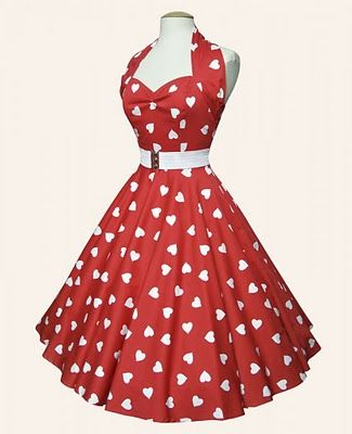 50's Dresses - White hearts on red