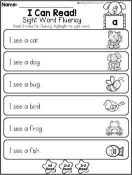 Free Sight Word Fluency Phrases With Images Sight Words