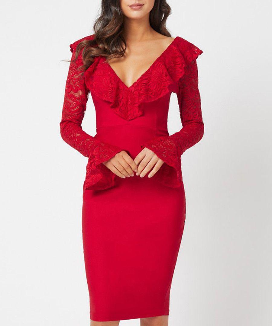 5a74519fe78e5 Mariella red V-neck lace detail dress Sale - Vesper