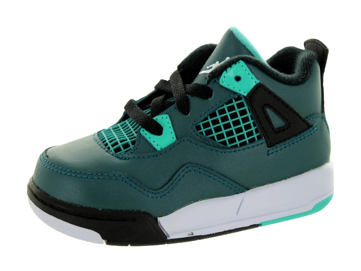 406f92149408f7 Nike Jordan Toddlers Jordan 4 Retro Bt Teal White Black Retro Basketball  Shoe 6 Infants US