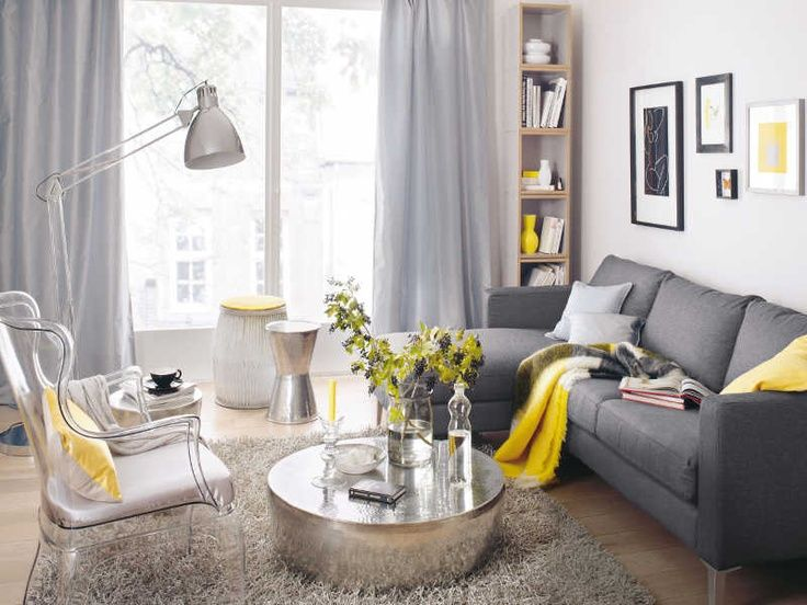 yellow and gray room silvery accents