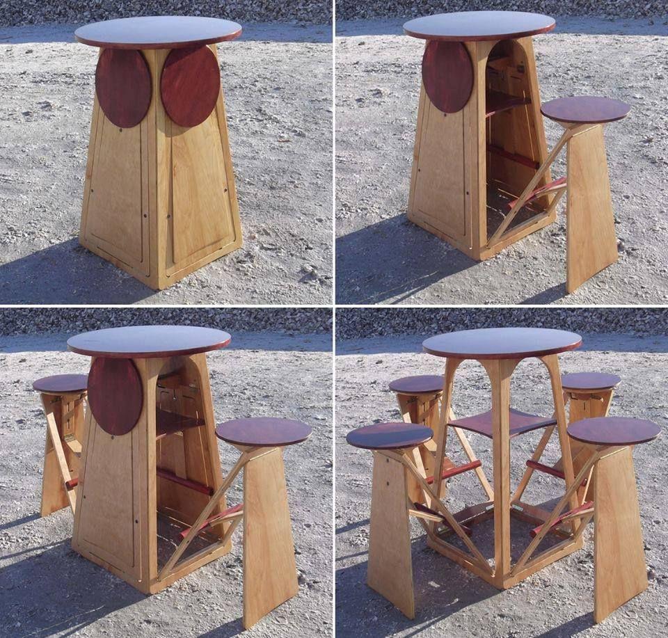 Portable Table With Chairs Mobiliario Para Economizar Espaco