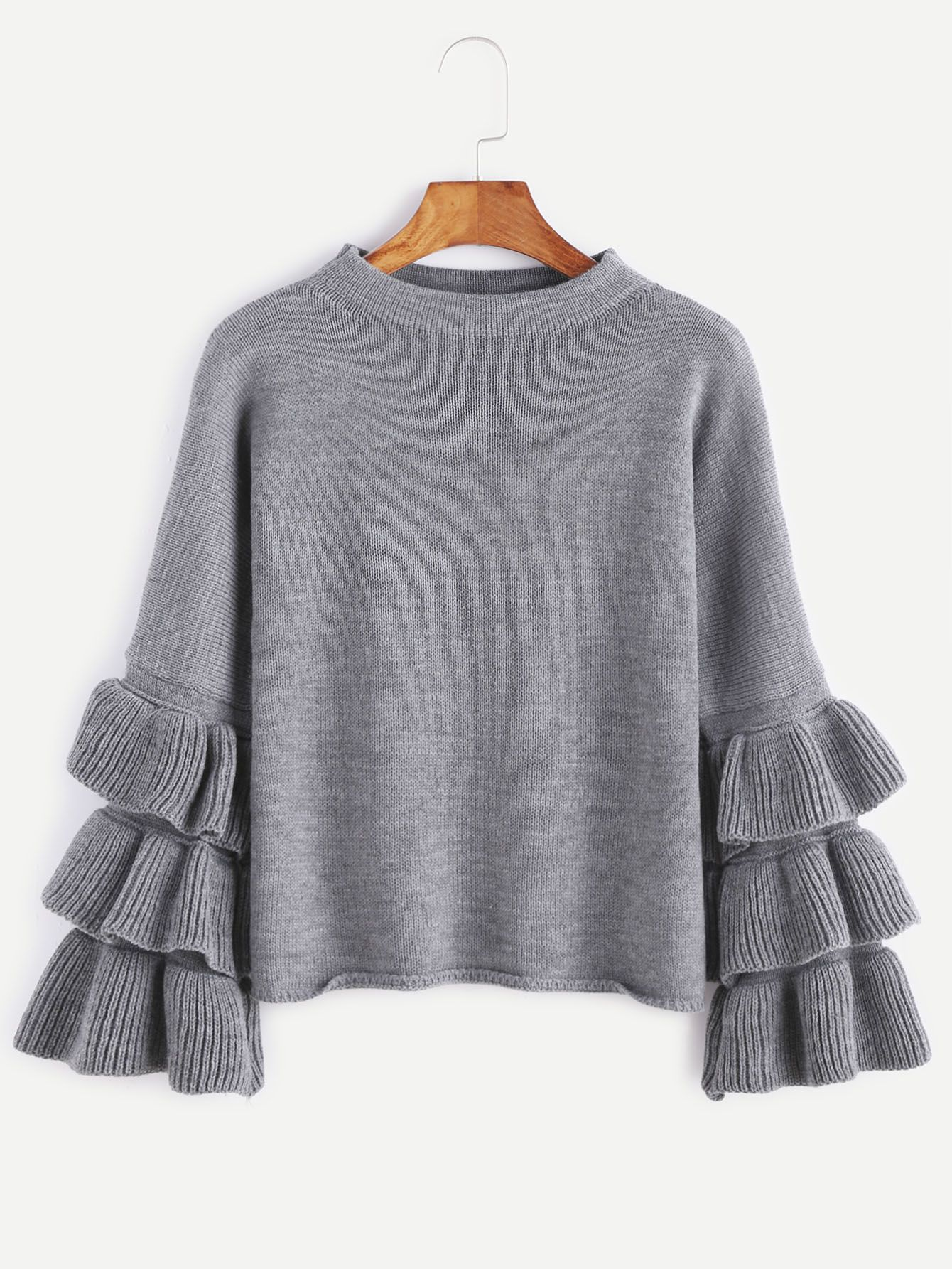 Grey Layered Ruffle Sleeve Pullover Sweater | Ruffle sleeve ...