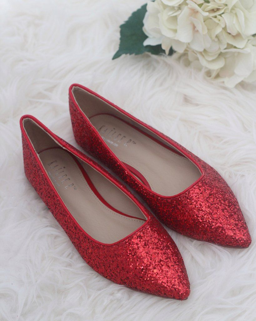 7355ae5a236 Women Glitter Shoes - RED Pointy Toe Rock Glitter Flats