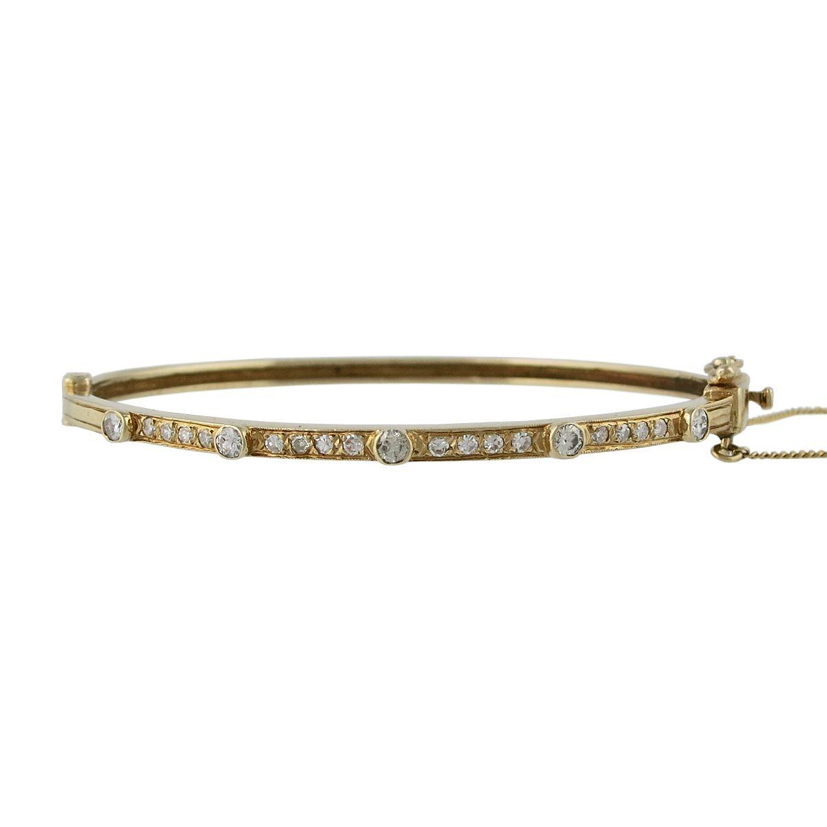 Vintage 14K Gold Diamond Bangle Bracelet, c. 1940s-1950s. $2700