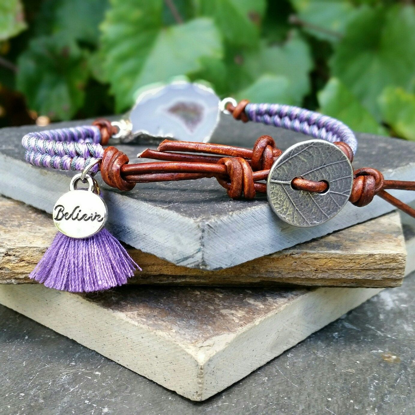 Loving this vibrant purple! ! New listing drusy friendship leather wrap bracelet.