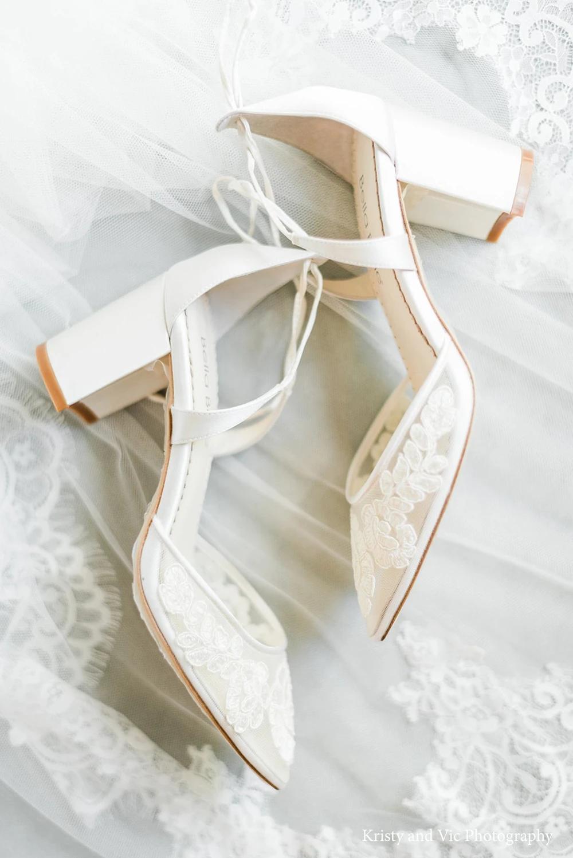 Block Heel Lace Wedding Shoes