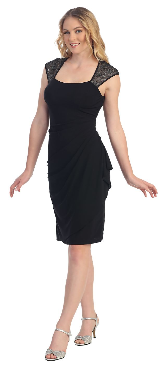 CLEARANCE - Knee Length Black Cocktail Dress Short Lace Cap Sleeves ...