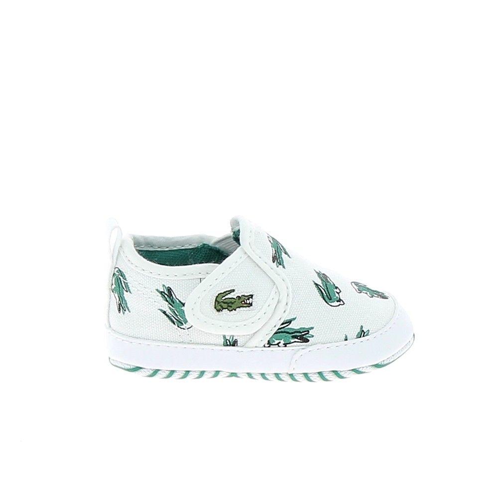 Lacoste Gazon 118 Bb Blanc Vert Chaussures De Bebe Lacoste Sport