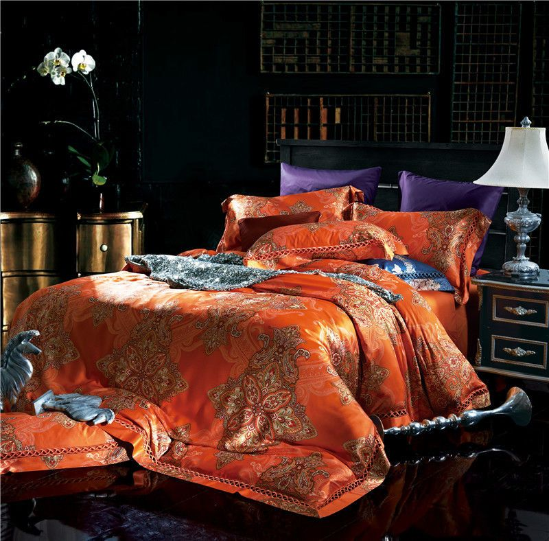 4pc 500tc Luxury Orange Jacquard Tafetta Duvet Cover Bedding Set Ivarose Southeastasiastyle Bed Linens Luxury Bed Linen Design Luxurious Bedrooms