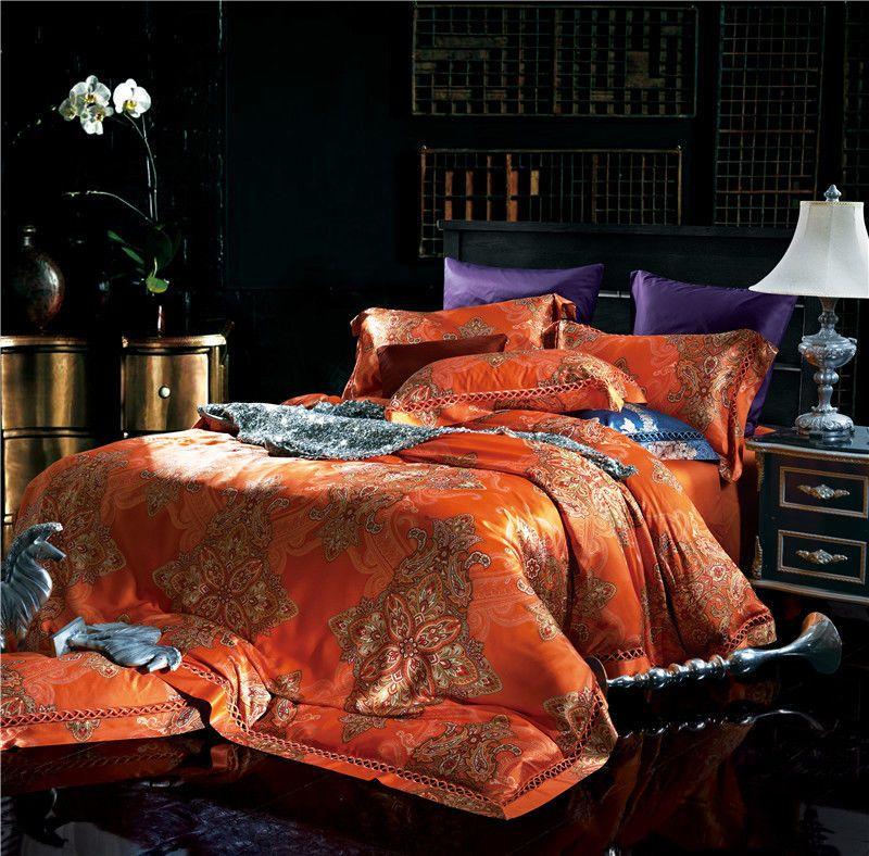 4pc 500tc Luxury Orange Jacquard Tafetta Duvet Cover Bedding Set Ivarose Southeastasiastyle Bed Linens Luxury Luxurious Bedrooms Luxury Bedding