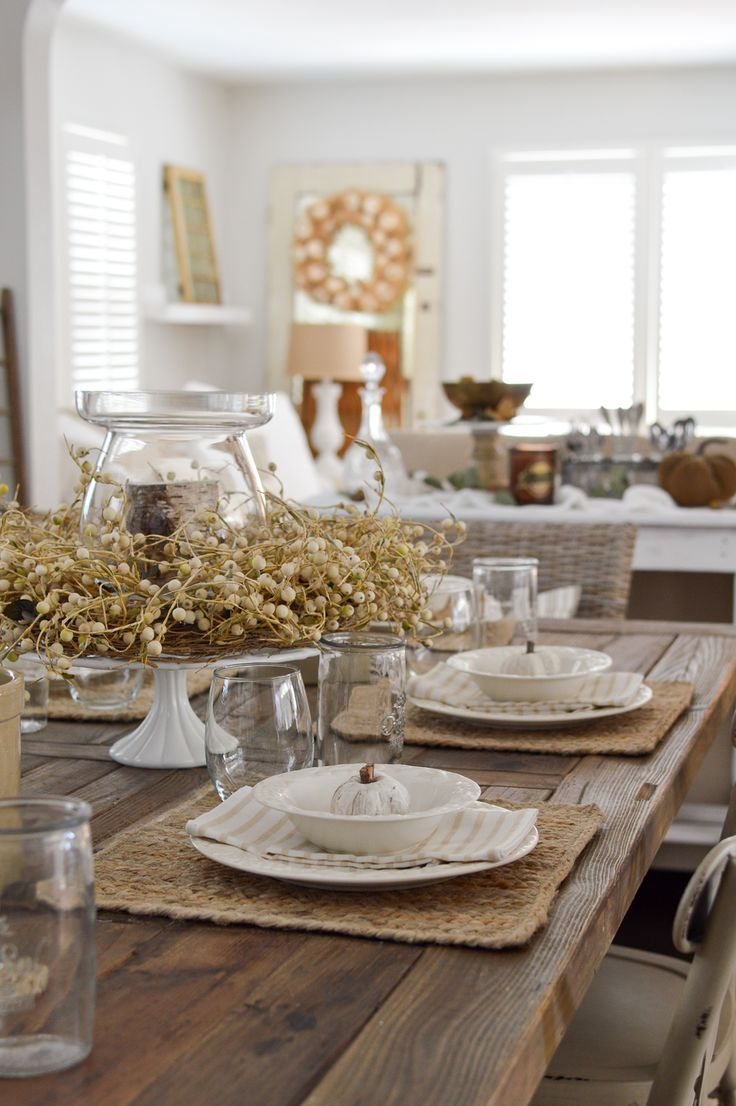 Neutral Farmhouse Fall Dining Room Decorating Ideas Fall Dining Room Autumn Dining Affordable Dining
