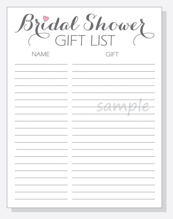 diy bridal shower gift list printable calligraphy script with red purple pink or