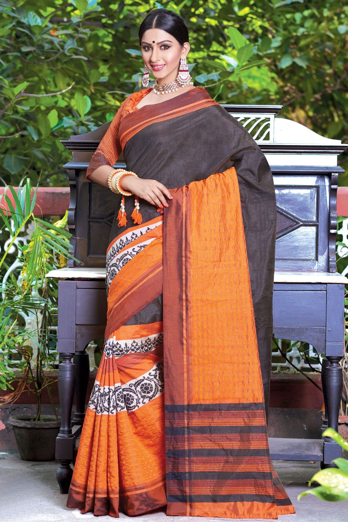c226ac5a3 #Black & #orange glamorous pure #tussar silk #saree with weaved and resham  thread embroidered pallu -SR13997