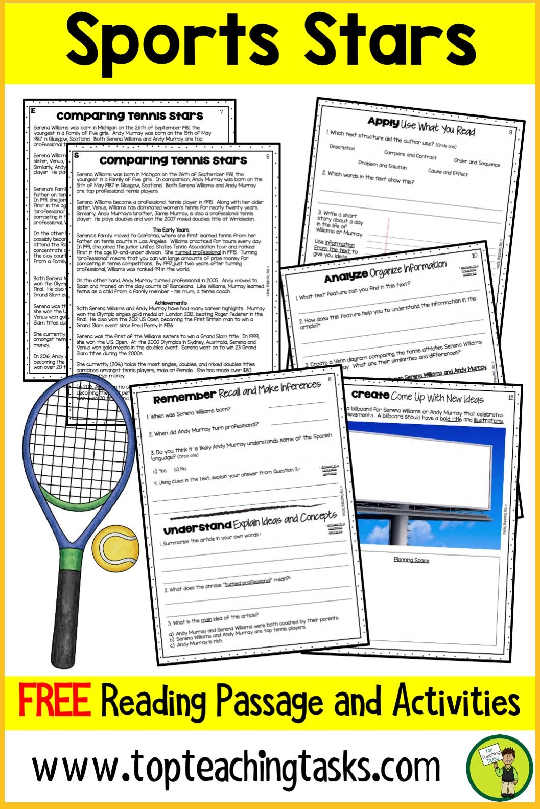 This free Sports Reading Resource includes one Grade Four and Five ...