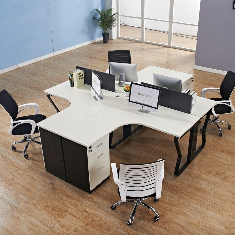 Simple Modular Office Furniture Melamine Pannel T Shape Desk Aluminium Gl Parion
