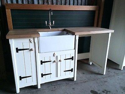 Pine Freestanding Kitchen Belfast Butler Sink Unit Oak Top Farmhouse Country