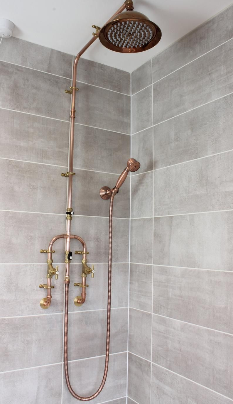 Copper Shower With Fixed Head And Flexible Handset Etsy In 2020 Copper Shower Head Shower Plumbing Ceiling Shower Head