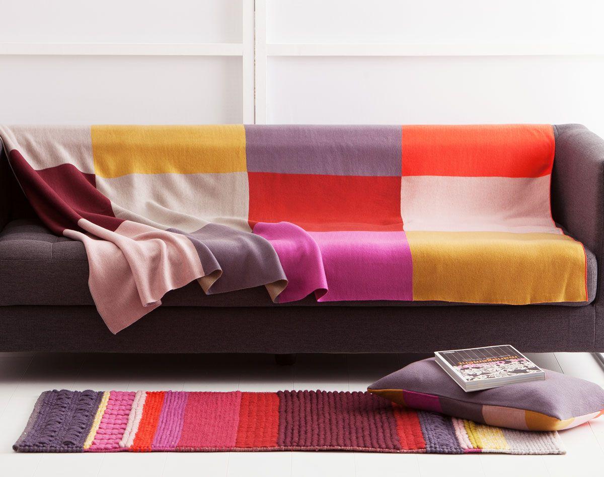 plaid tricot grands carreaux multicolores et pour mon. Black Bedroom Furniture Sets. Home Design Ideas