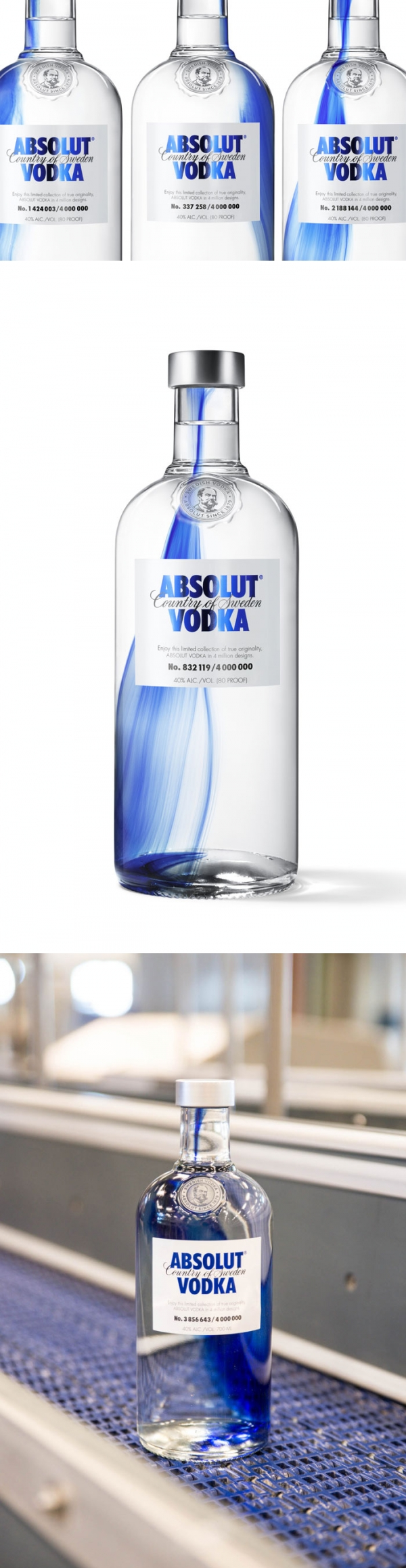 a single drop of cobalt blue dye was added to the glass as a it cooled, resulting in a completely one of a kind Absolut Vodka #bottle #packaging