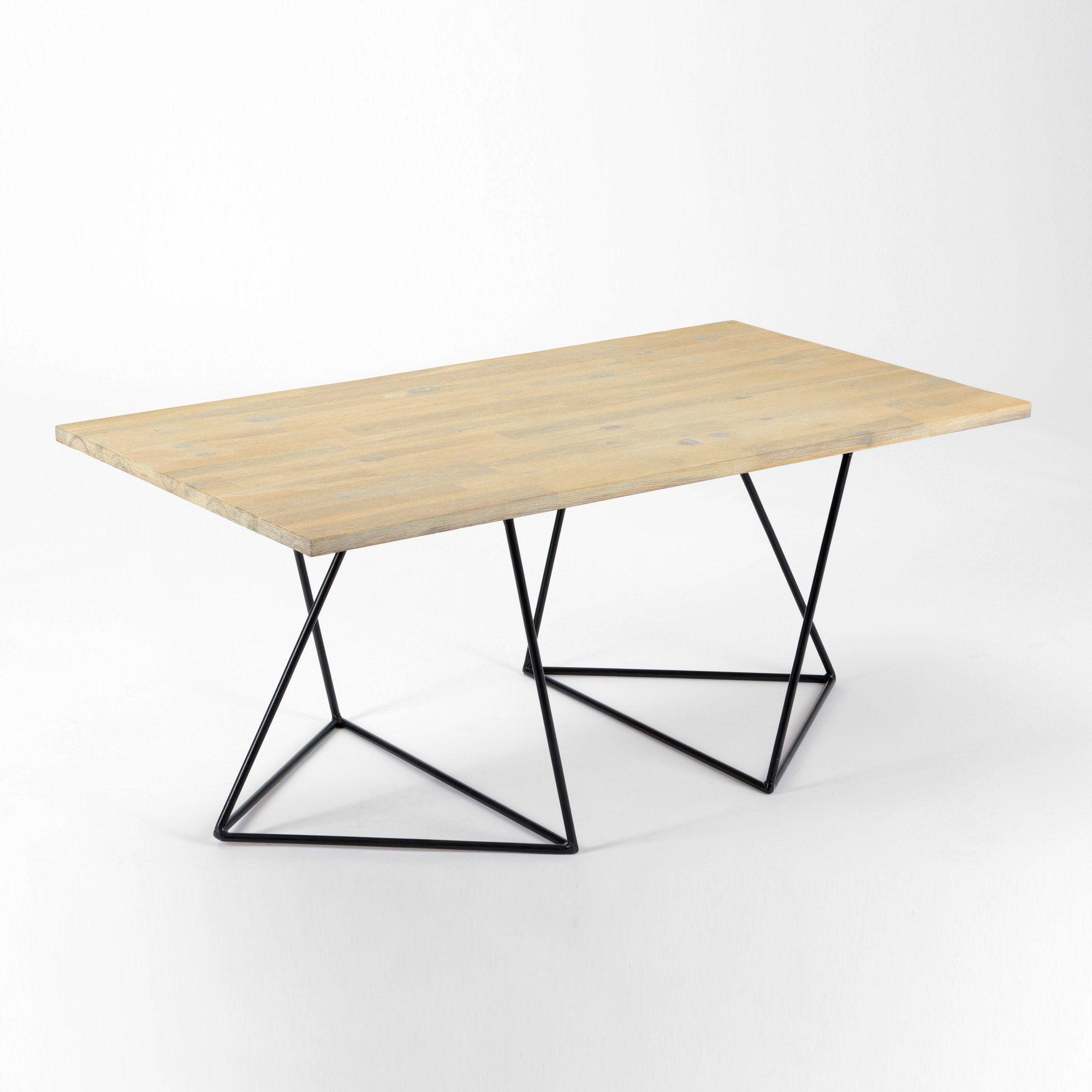 Table A Manger En Bois Et Metal Longueur 110 Cm Treteau Korb Table A Manger En Bois Table A Manger Treteaux Table Basse