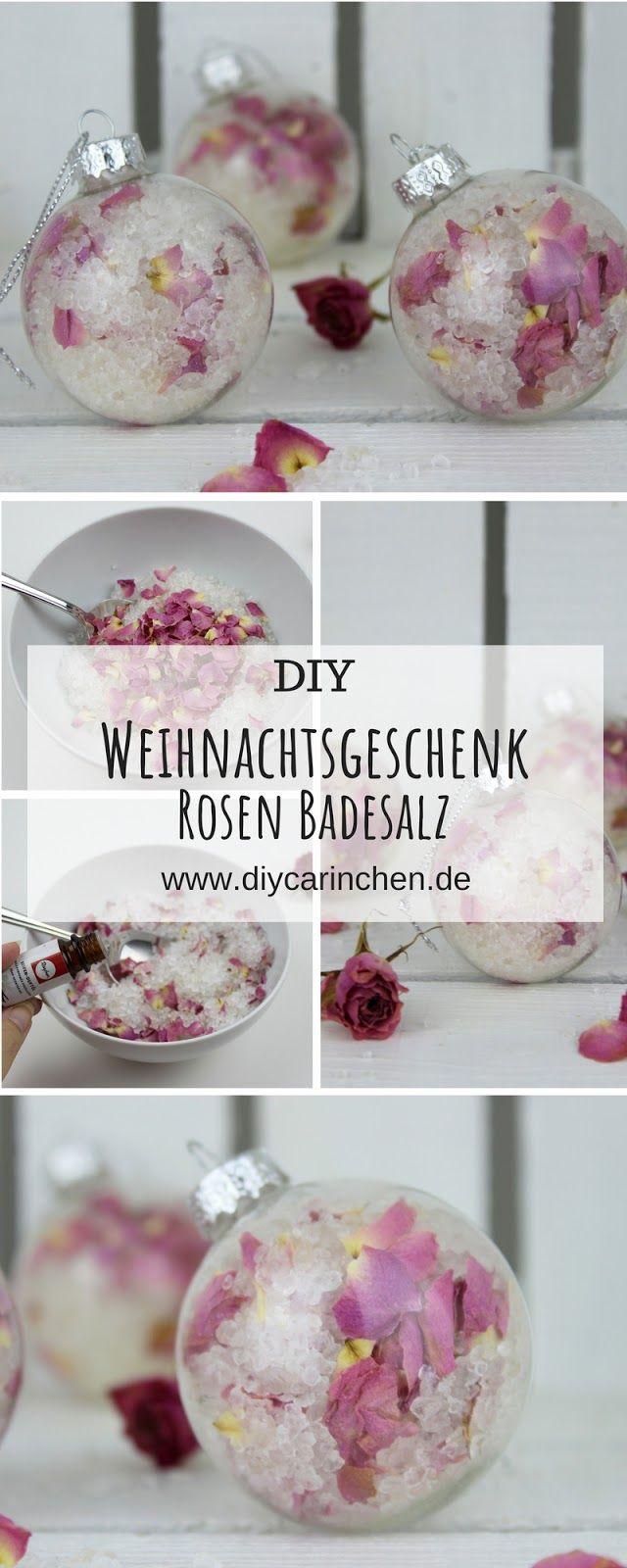 DIY Badesalz mit Rosenblütenblättern selbermachen in Christbaumkugeln #wichtelgeschenkideenkollegen