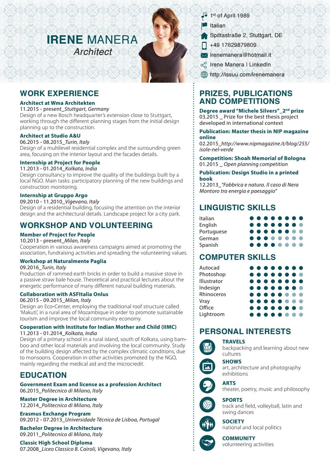 Irene Manera Curriculum Vitae Curriculum Vitae Civil Engineer Resume Cv Template Word