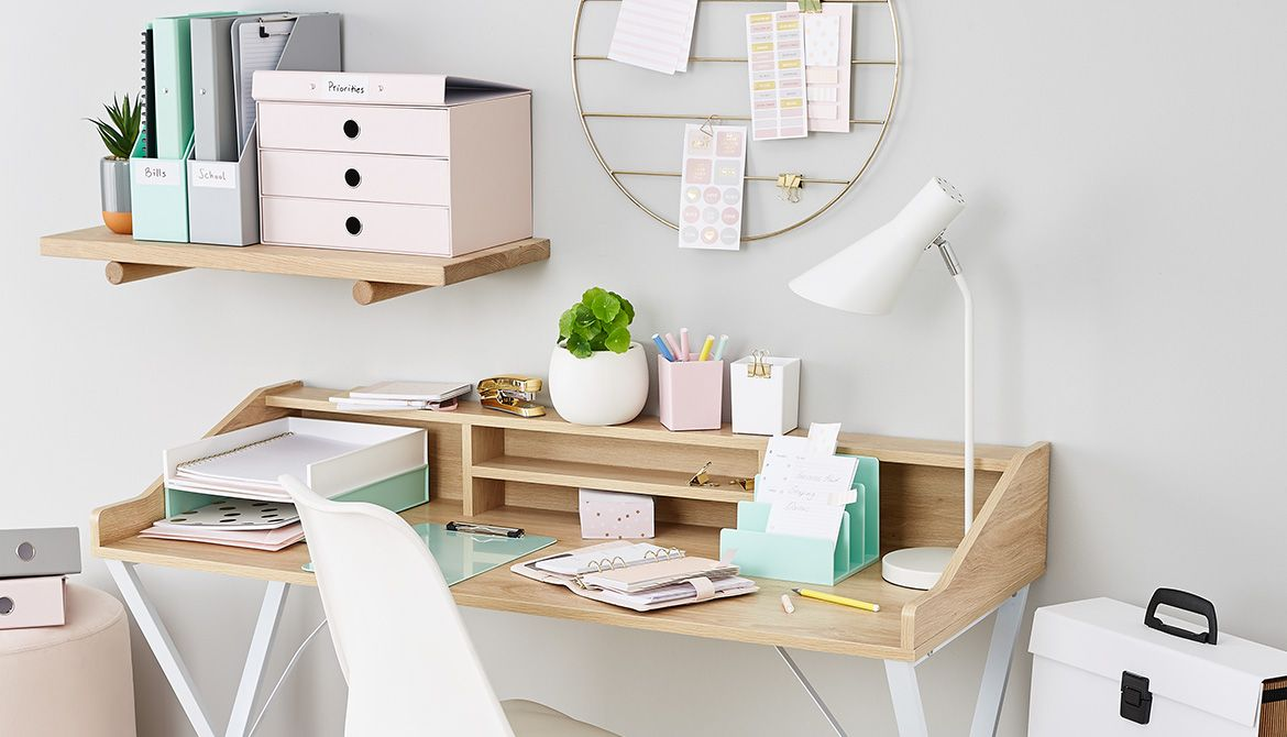 How To Organise Your Desk With Colour Kmart Australia Pastel Desk Stationary Pretty Scandi Deco Office Desk Decor Dining Room Table Makeover Desk Inspiration