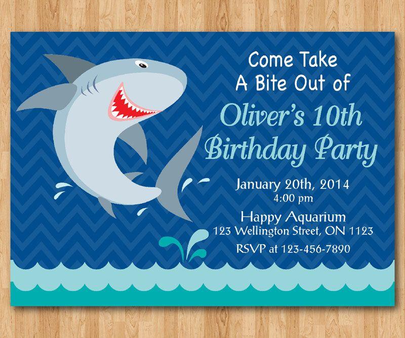 Shark Birthday Invitation. Shark Theme Birthday Party