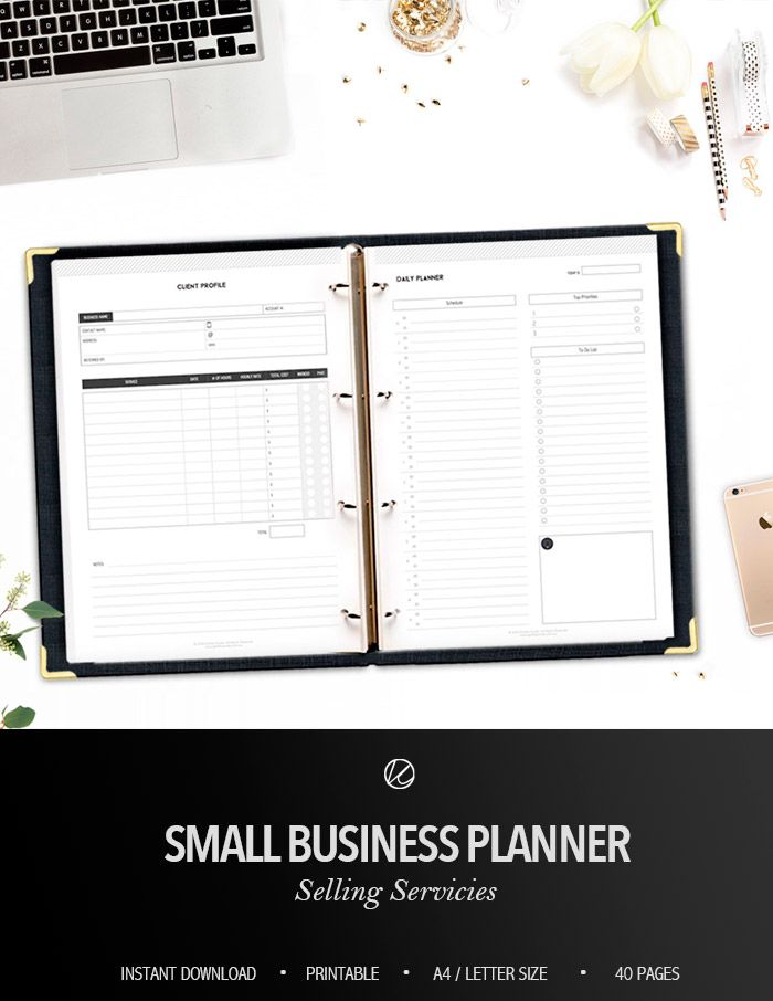 small business planner selling services business goals finance