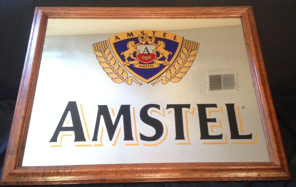Amstel 26 75 Quot X 21 6 Quot Wooden Framed Bar Pub Man Cave