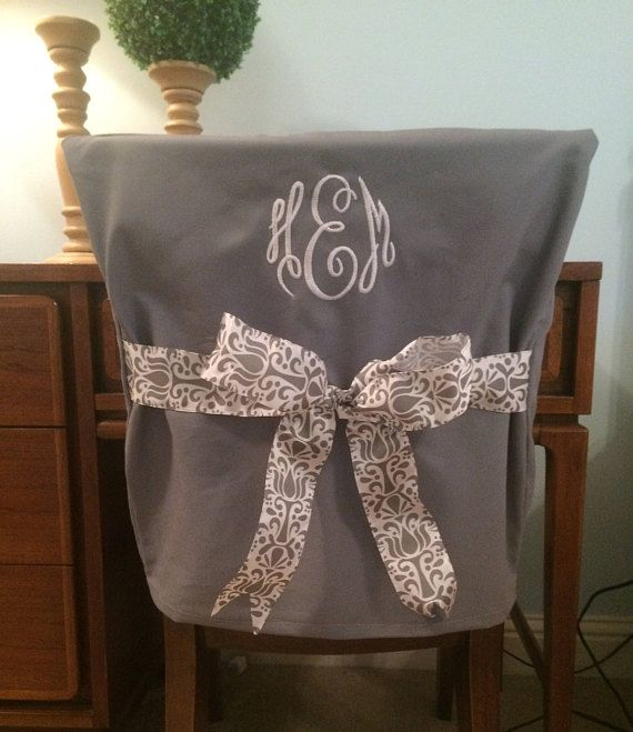 Tremendous Desk Chair Covers Gray Monogrammed Dorm Chair Back Cover Creativecarmelina Interior Chair Design Creativecarmelinacom