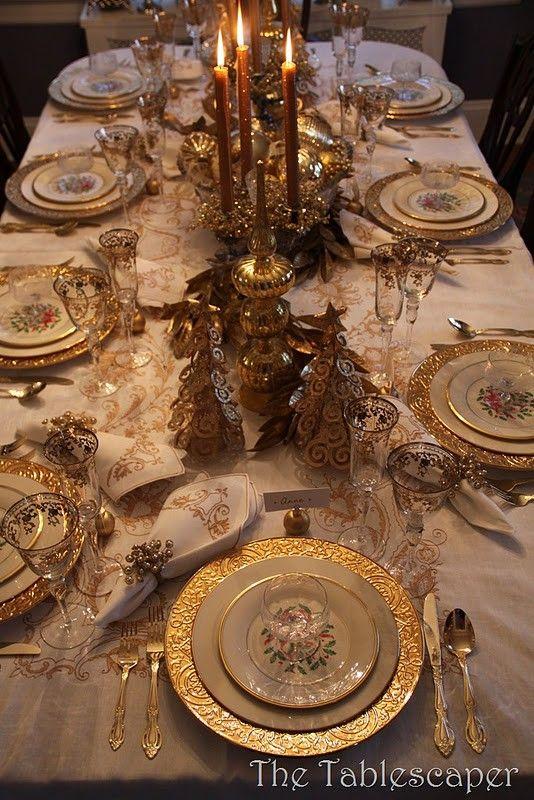 golden elegance, the centerpiece has swirly Christmas trees...I ...