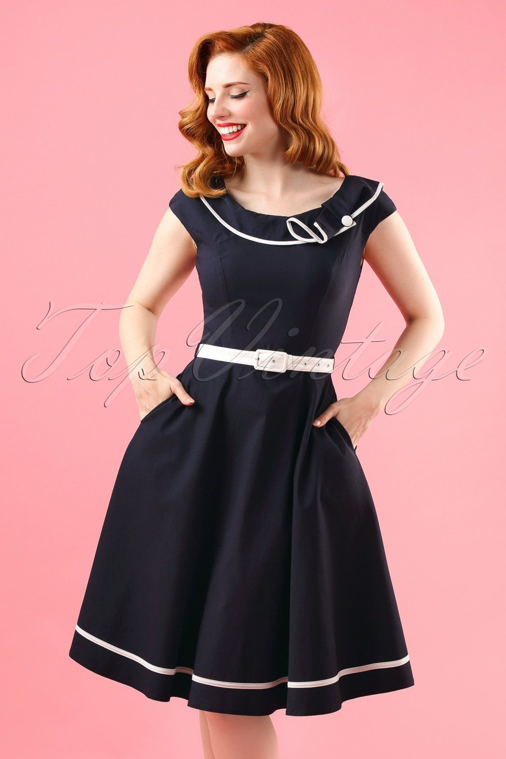 This 50s Nora Sailor Swing Dress is simply perfect!Sailor meets classy  chic! This flowy beauty features a stunning boat neck 722bab695c