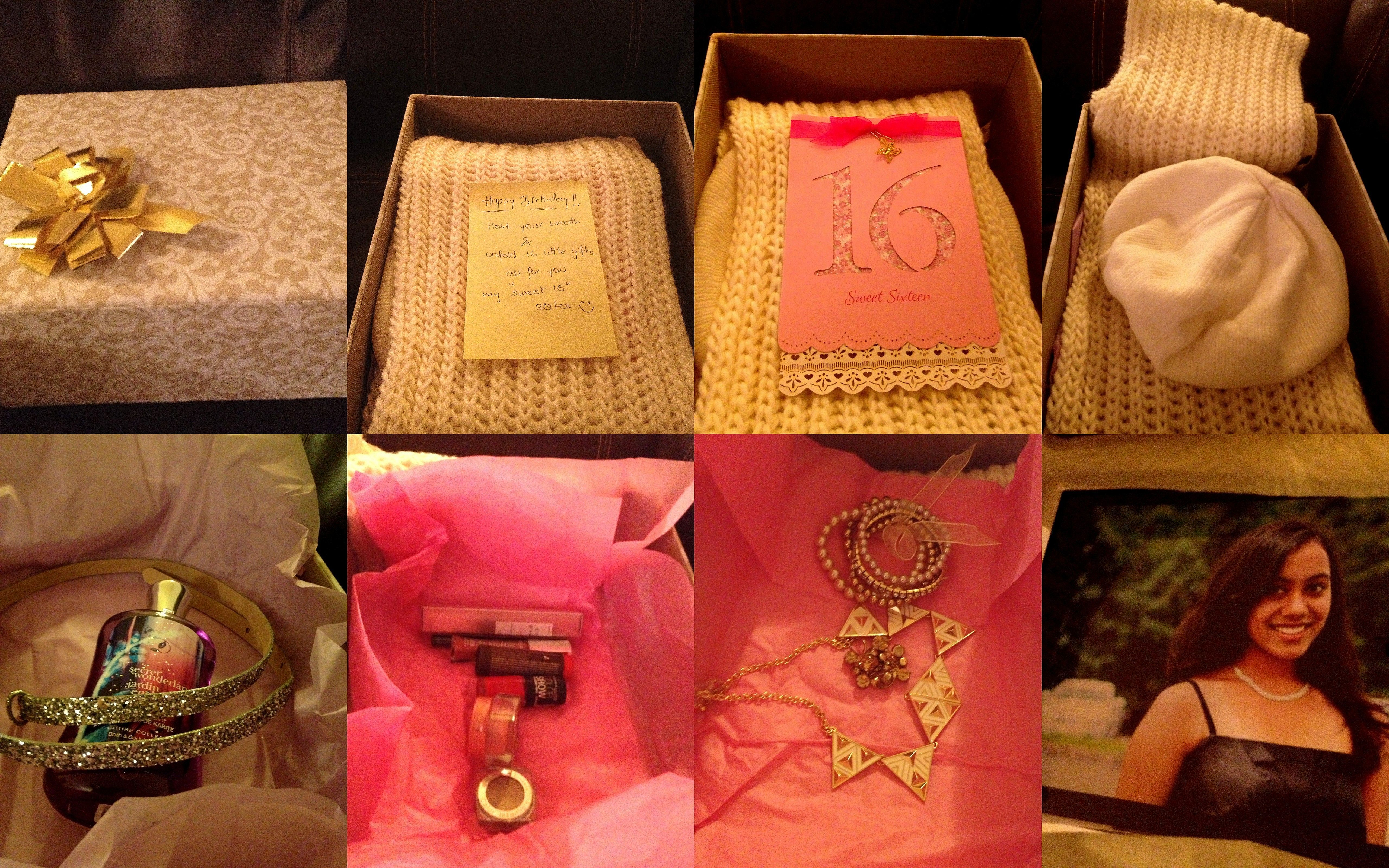Sweet 16 Gift Idea16 Small Gifts Wrapped In A Cute Storage Boxwrapped Layered By Using Woolen Scarf