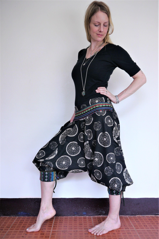c3d1bd2ff5 Boho clothing, Samurai pants, Amonchai Thai hill tribe, Black w Grey  pattern and