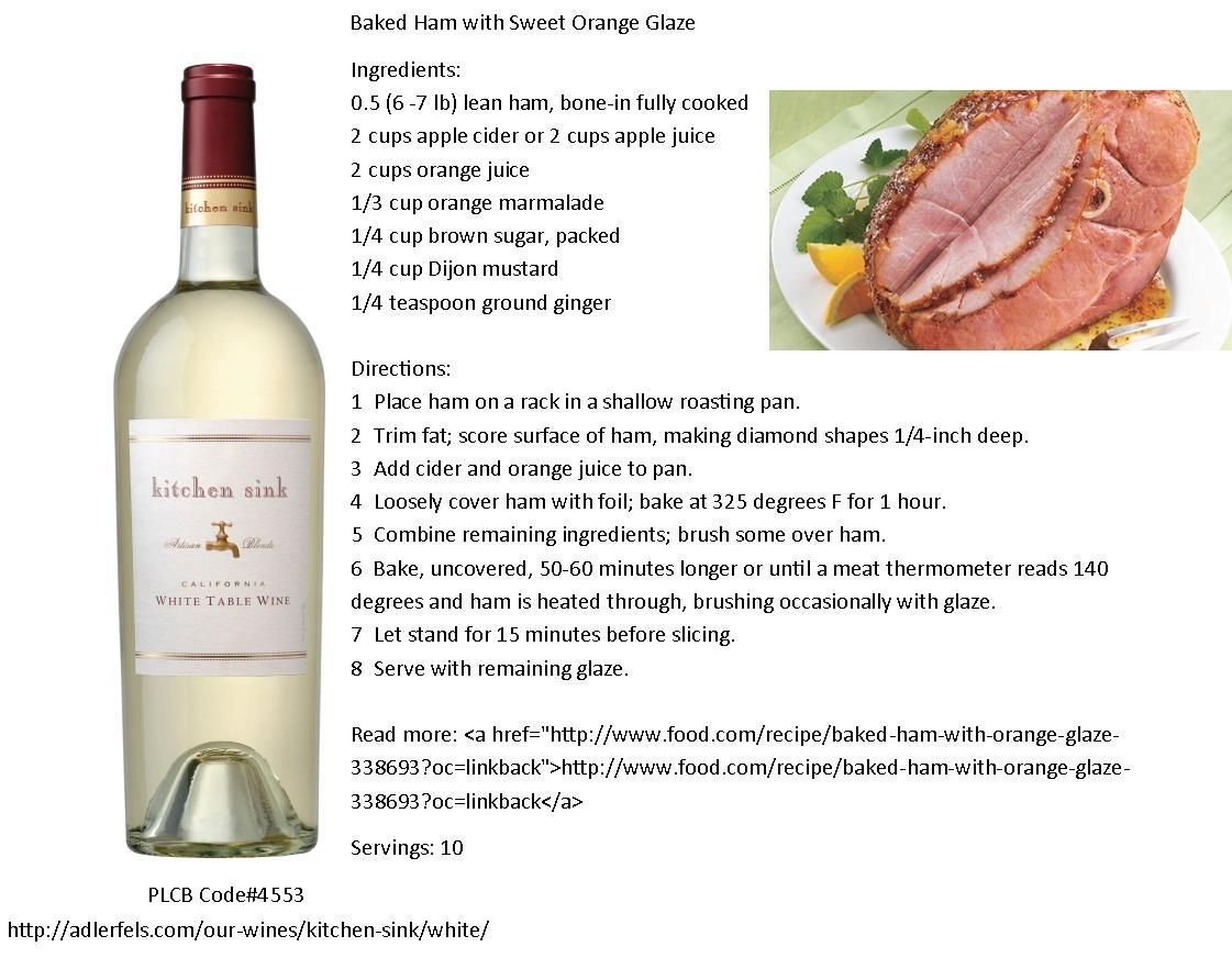 Kitchen Sink California White Table Wine pairs well with Baked Ham ...