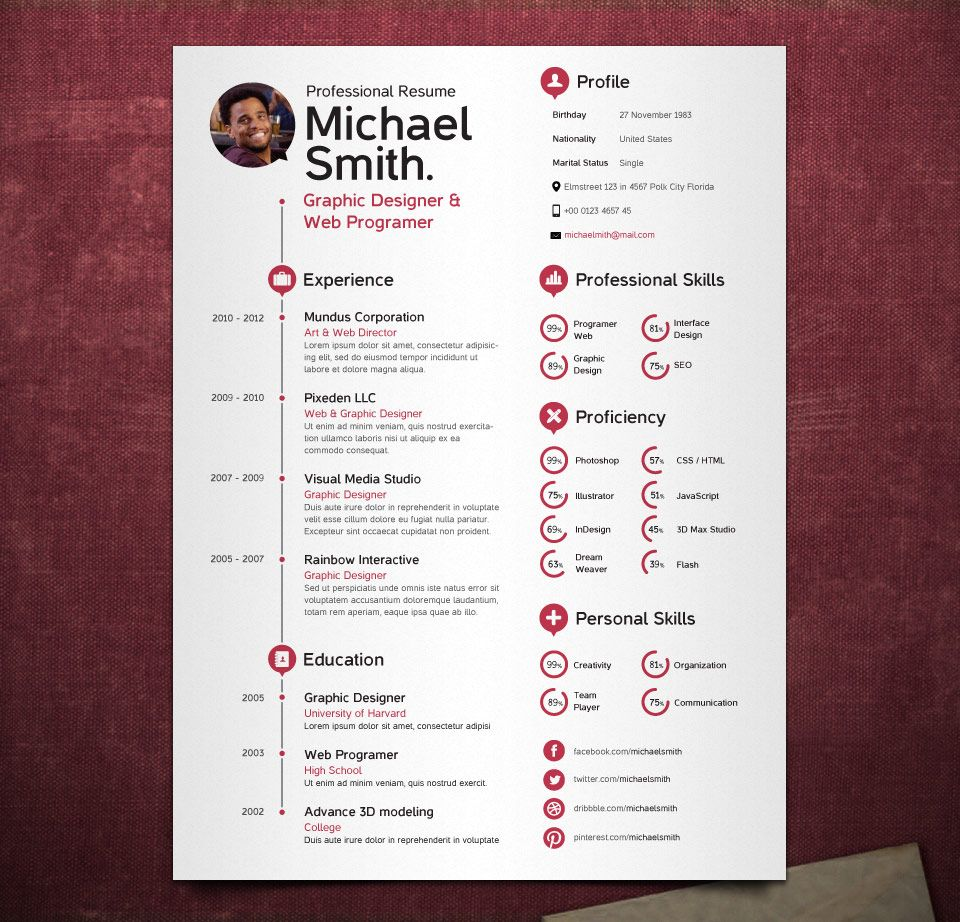 Simple Resume Template Vol  Resumes Templates  Pixeden  Resumes