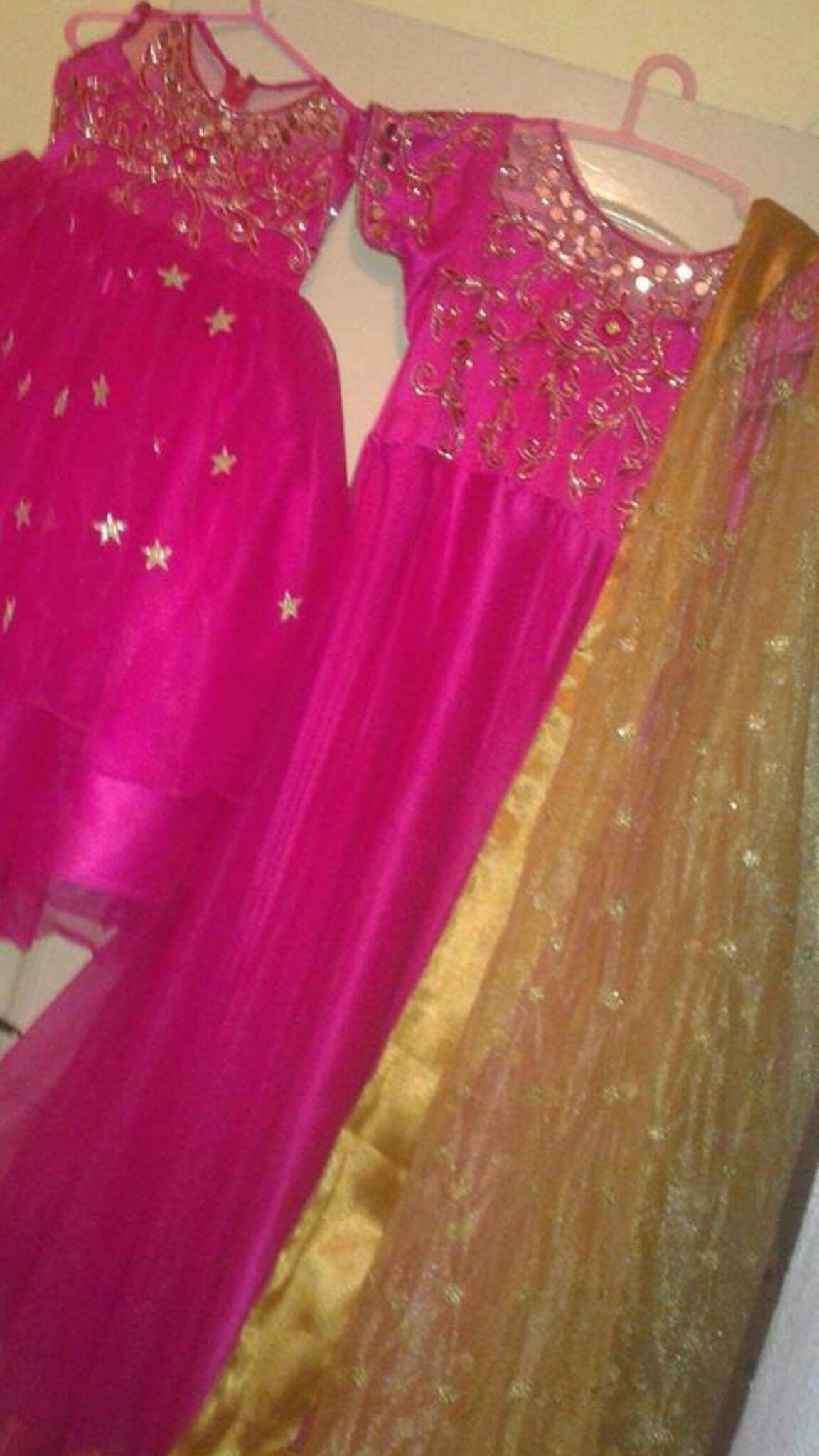 Mom and baby dress Net clothing and top of body Maggam work Contact