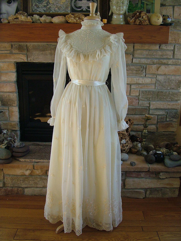 Wedding dress vintage 1970s victorian prairie style bridal